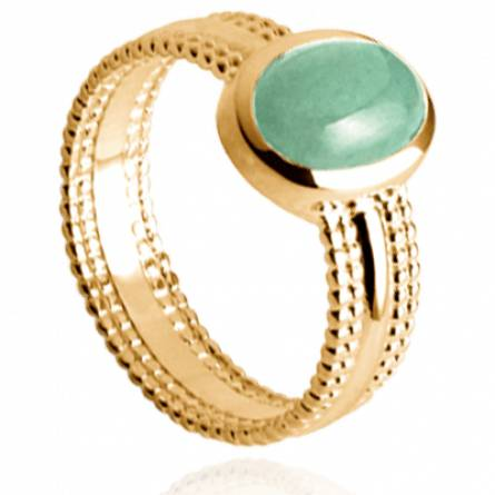 Bague femme plaqué or Tessyna ovale vert