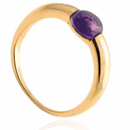Bague femme plaqué or Tifany violet