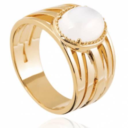 Bague femme plaqué or Vance blanc
