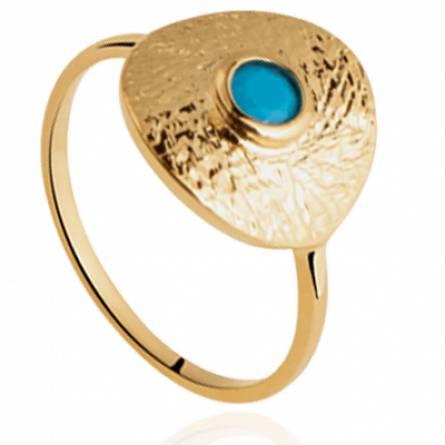 Bague femme plaqué or Vanina ronde bleu