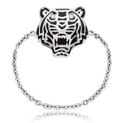 Bague Kenzo ligne Mini Tiger Noir Argent