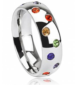 Bague multi strass rainbow Laurick
