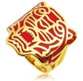 Bague plaqué or Kenzo rouge Cooper