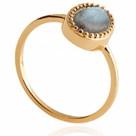 Bague plaqué or Merina ovale bleu