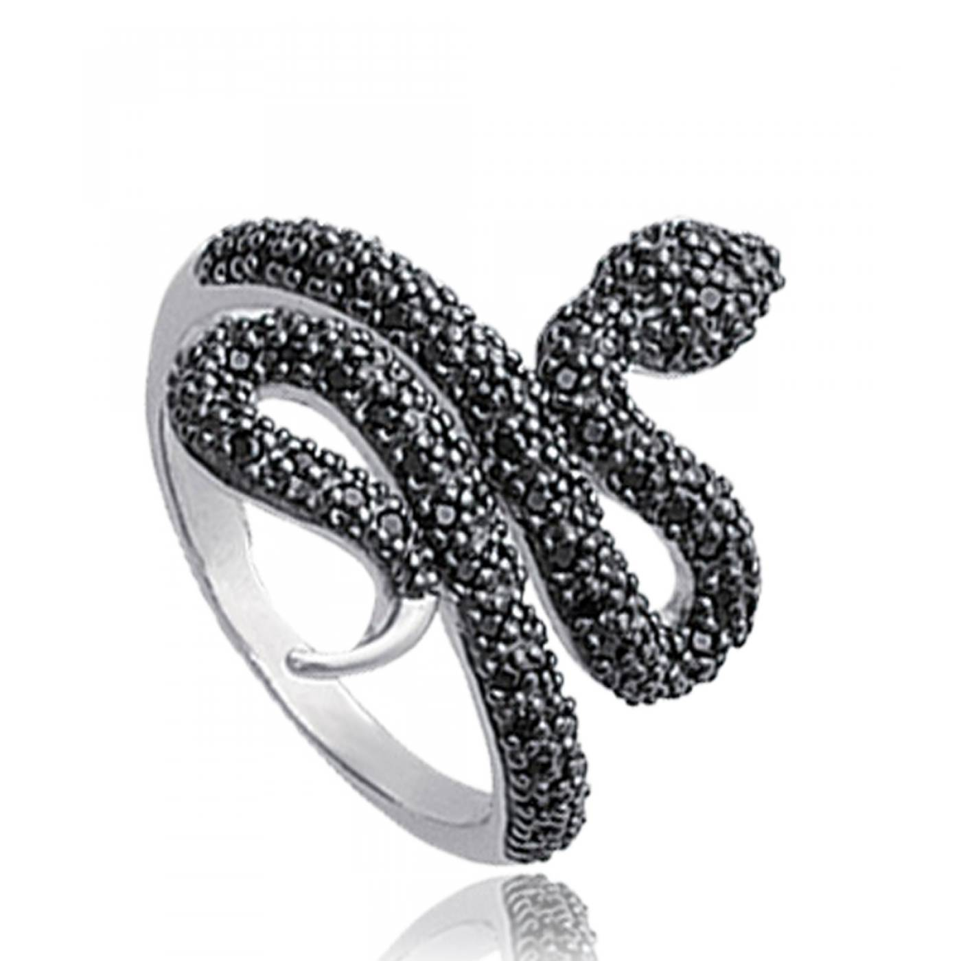 bague femme serpent strass argent noir. Black Bedroom Furniture Sets. Home Design Ideas