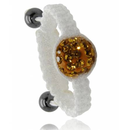 Bague Shamballa blanc boule or Arno