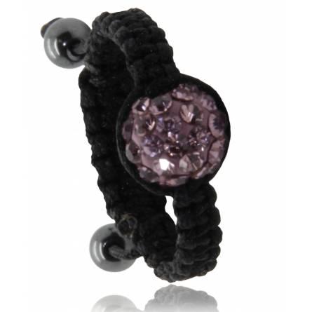 Bague Shamballa noir boule violette  Arno