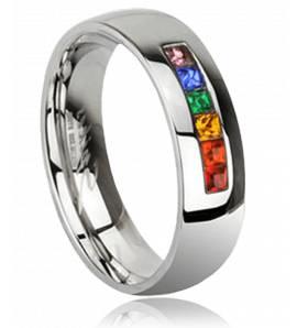 Bague strass anneau rainbow
