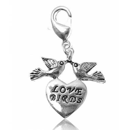 Bedels dames zilvermetaal Love birds letters