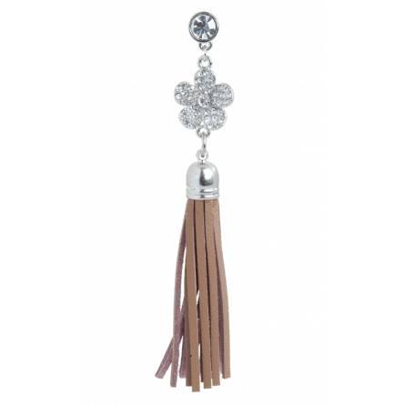 Bijoux de portable fleur strass marron Tess