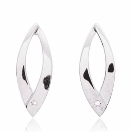Boucles d'oreille Argent rhodié diamant Hécate