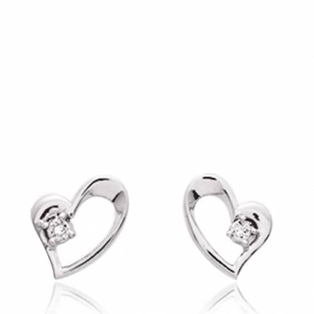 Boucles d'oreille Argent Rhodie diamant Hébé