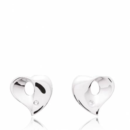 Boucles d'oreille Argent Rhodie diamant Hélios