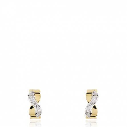 Boucles d'oreille deux ors torsadés et diamants