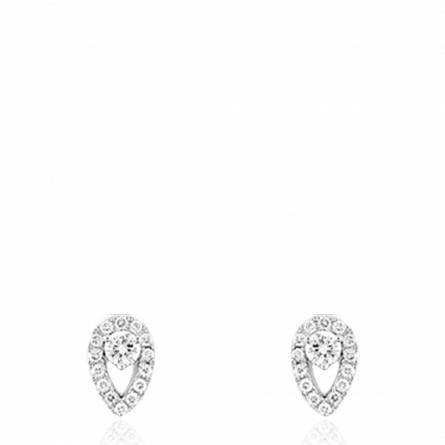 Boucles d'oreille or blanc serti diamants