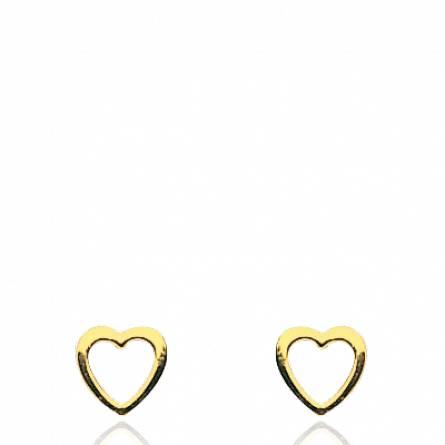 Boucles d'oreille or jaune contour coeur