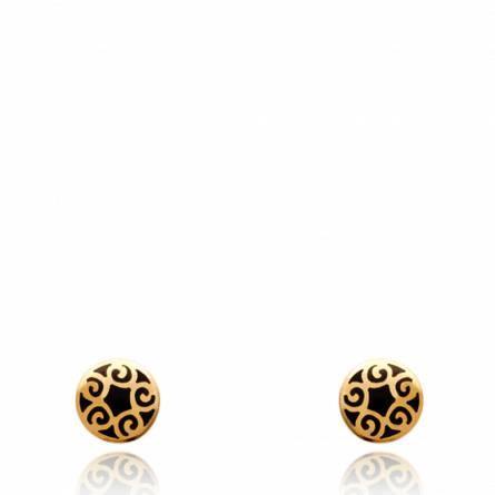 Boucles d'oreilles Arabesque résine noire