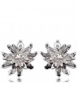Boucles d'oreilles argent fleur eternelle