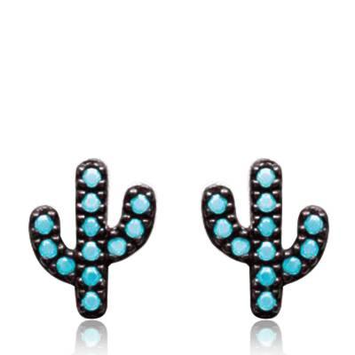 Boucles d'oreilles Argent rhodié cactus