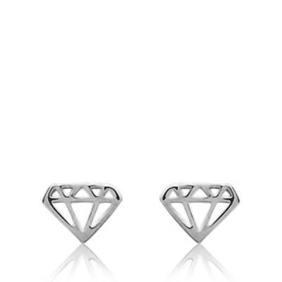 Boucles D'oreilles Argent Rhodié Diamant Bee