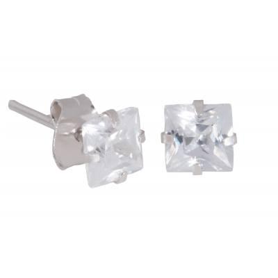 Boucles d'oreilles argent zirconium carré 5mm
