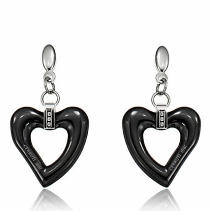 8b9461656 Boucles d'oreilles Coeur Femme Shanice Acier & Céramique Noir ...