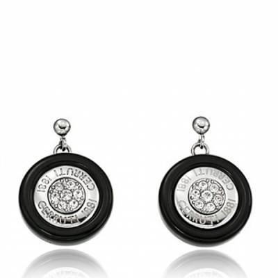 Boucles d'oreilles Cerruti acier Céramique noire Cerchio Mini Stella
