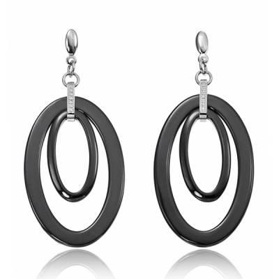 Boucles d'oreilles Cerruti acier Ceramique Noir Preziosi Anello Oanell