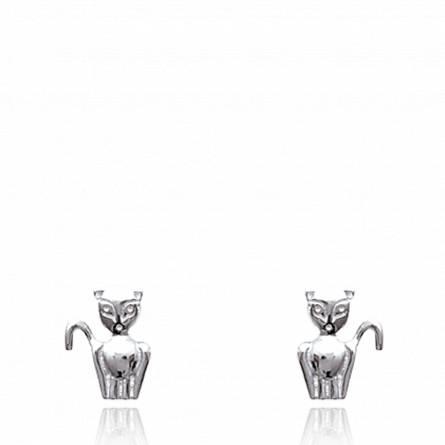 Boucles d'oreilles chat stupéfait