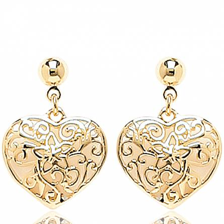 Boucles d'oreilles Coeur ciselé étoilé
