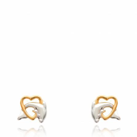 Boucles d'oreilles Coeur de Dauphin bi-color