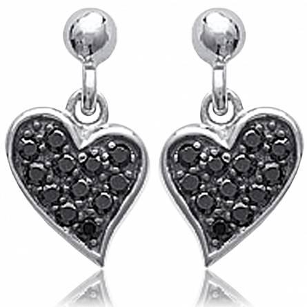 Boucles d'oreilles coeurs sublimées noirs