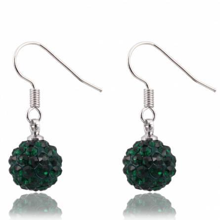 Boucles d'oreilles cristal vert foncé Abbée
