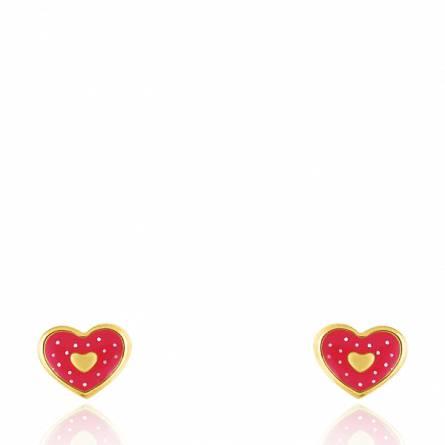 Boucles d'oreilles enfant or Tashka coeur rouge