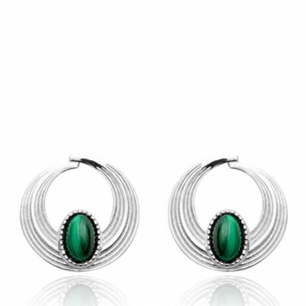 Boucles d'oreilles femme argent Almata ronde vert