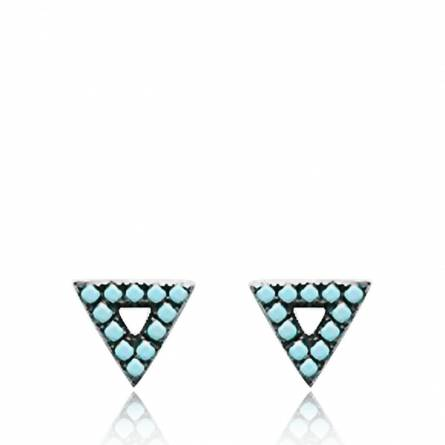 Boucles d'oreilles femme argent Bermude triangle noir