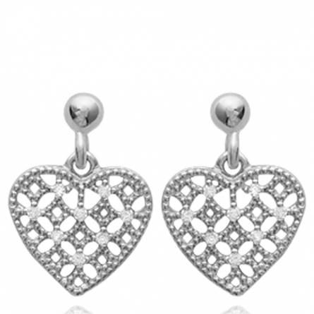 Boucles d'oreilles femme argent Carin coeur