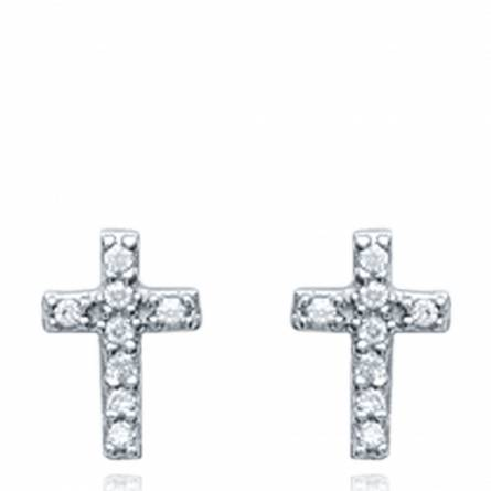 Boucles d'oreilles femme argent Carlene croix