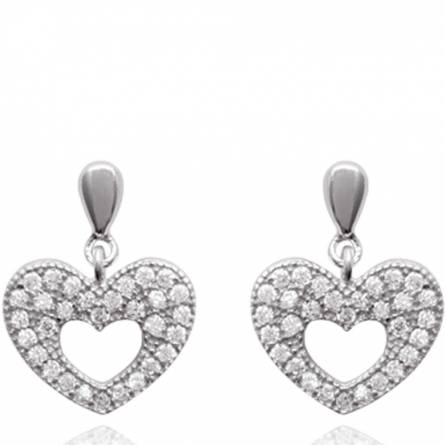 Boucles d'oreilles femme argent Carlisa coeur