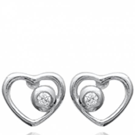 Boucles d'oreilles femme argent Carlotta coeur