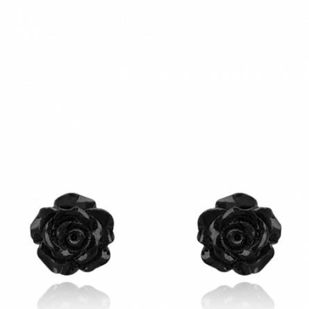 Boucles d'oreilles femme argent Carolyn noir