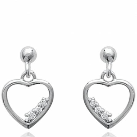 Boucles d'oreilles femme argent Caryn coeur