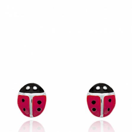 Boucles d'oreilles femme argent Ceara rouge