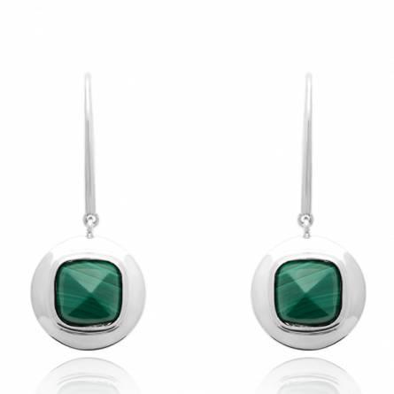 Boucles d'oreilles femme argent Datho ronde vert