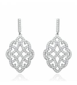 Boucles d'oreilles femme argent Diamond dentelle gris