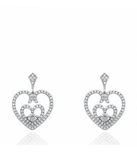 Boucles d'oreilles femme argent Edina coeur gris