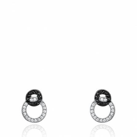 Boucles d'oreilles femme argent Edvige ronde gris