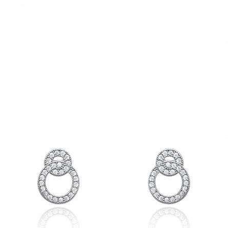 Boucles d'oreilles femme argent Edwena ronde gris