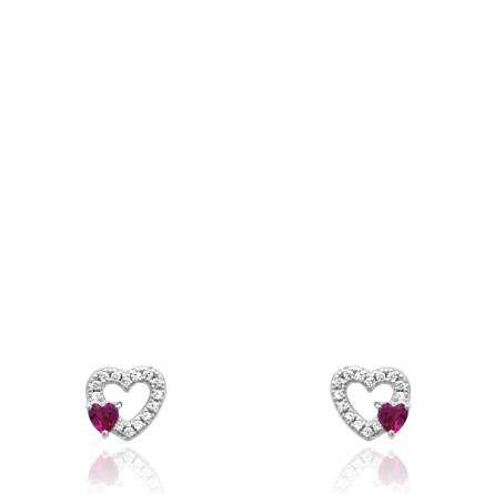 Boucles d'oreilles femme argent Edythe coeur gris