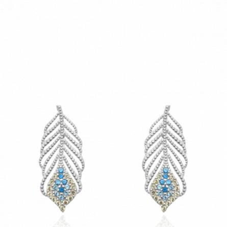 Boucles d'oreilles femme argent Eijen bleu